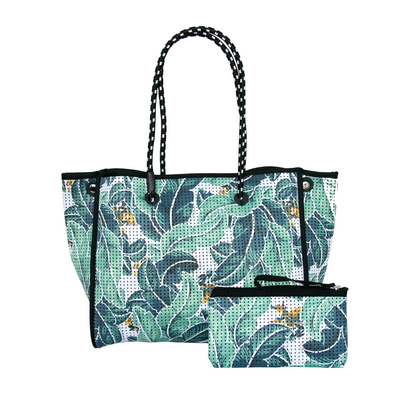 Tropical Palm / Black Reversible Neoprene Tote Bag