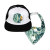 Tropical Palm Trucker Cap & matching Dribble Bib - Gift Set - Chuckles & Caz