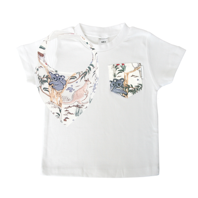 Australian Sketched Animals Print Pocket Tee & matching Dribble Bib - Gift Set - Chuckles & Caz
