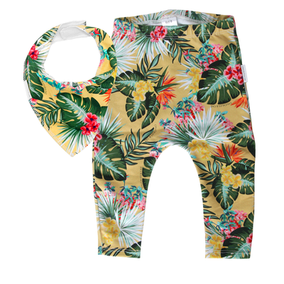 Yellow Hawaiian Leggings & matching Dribble Bib - Gift Set - Chuckles & Caz