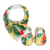 Yellow Hawaiian Baby Booties & matching Dribble Bib - Gift Set - Chuckles & Caz