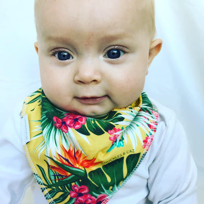 Yellow Hawaiian Dribble Bib - Chuckles & Caz