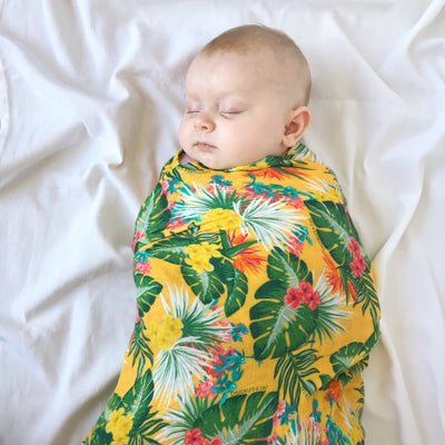 Yellow Hawaiian Muslin Swaddle - Chuckles & Caz