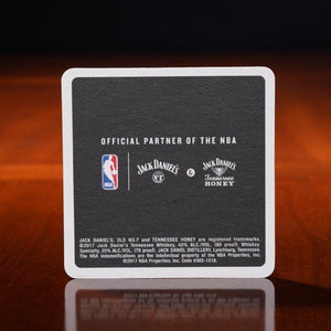 Jack Daniels nba coaster from 2017 at the whiskey cave