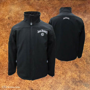 Black Jack Daniel's Polyester Men's Jacket with white stitching at The Whiskey Cave