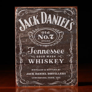 Jack Daniel's Distressed black Label metal sign made in USA at the whiskey cave