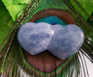 Blue Calcite Double Heart