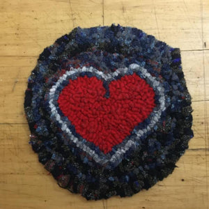 Heart Mug Rug - Rug Hooking Kit using Wool Fabric Strips