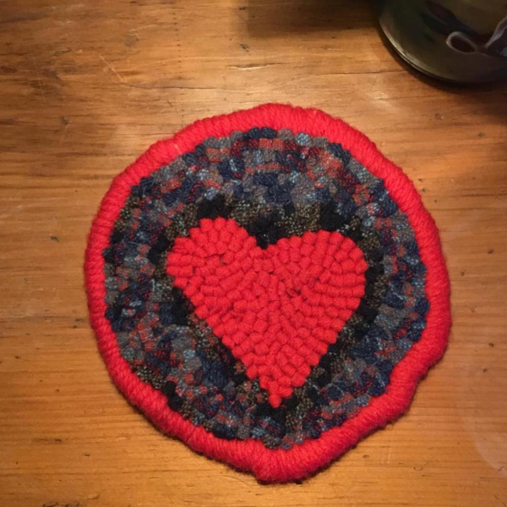 Heart Mug Rug - Oxford Punch Needle Kit using Wool Fabric Strips