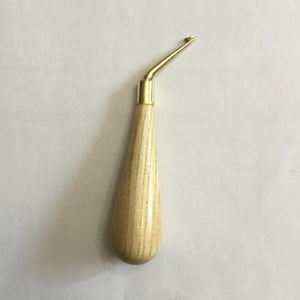 Bent Brass Hook with Wood Handle, Medium Right Hand