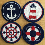 4 Pack Nautical Mug Rugs - Oxford Punch Needle Kit