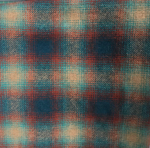 Wool Fabric - Teal Burst Plaid Yard