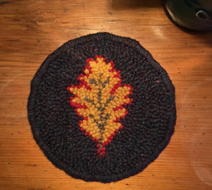 3 Pack Leaf Mug Rugs - Oxford Punch Needle Kit