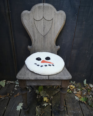 Snowman Wool Punched Chair Pad