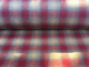 Wool Upholstery Fabric - Red, Grey and Orange