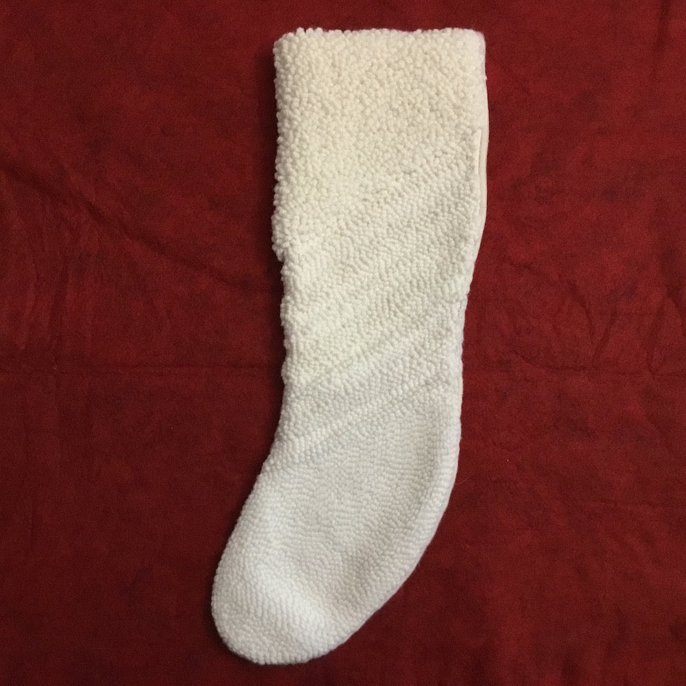 Christmas Stocking - Striped- Punched Wool