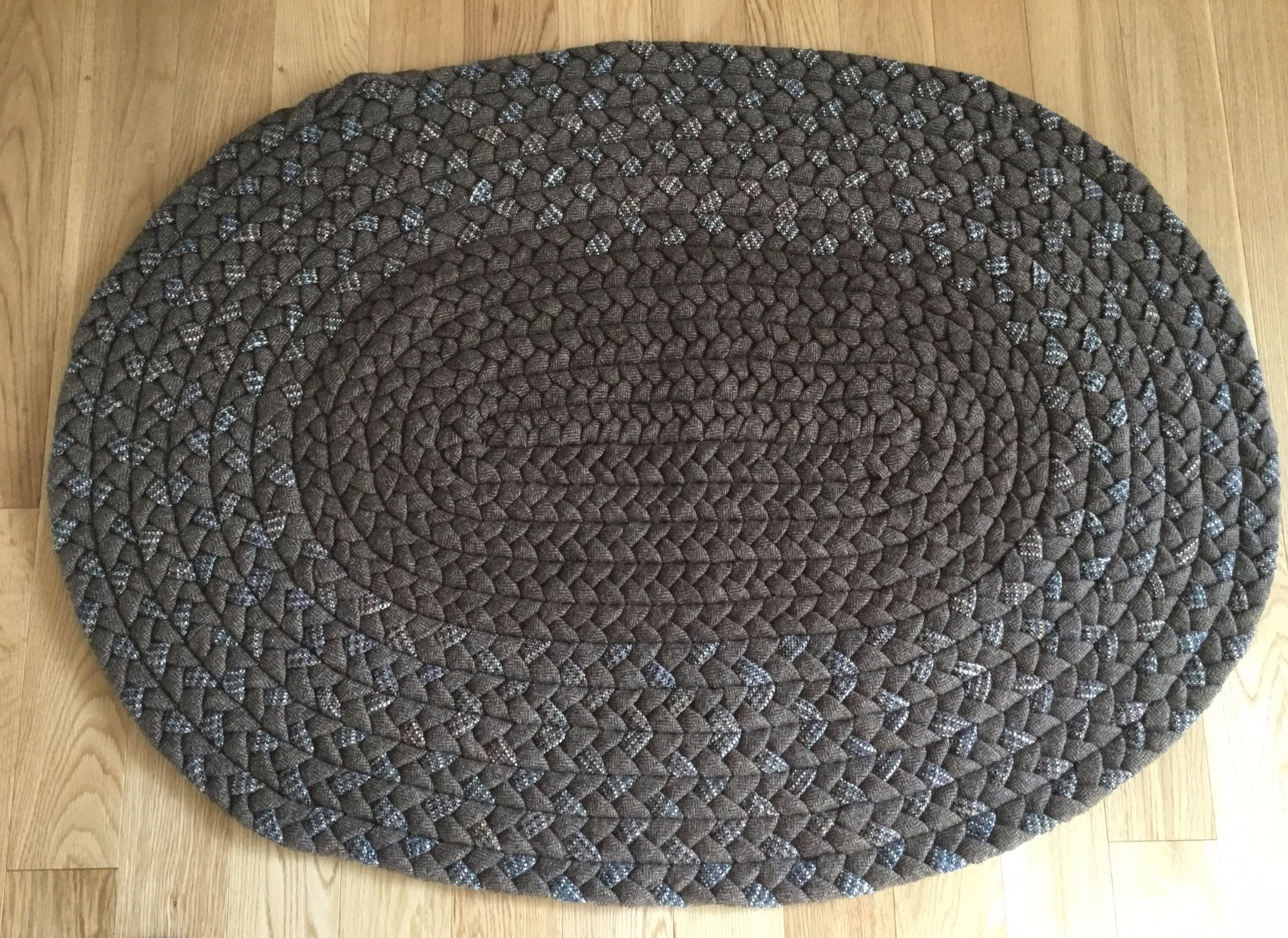 Brown   –  Vintage Wool Hand-Braided Rug