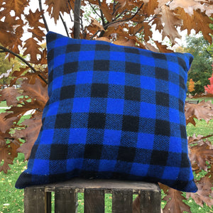 Wool Pillow 23 - Blue Plaid