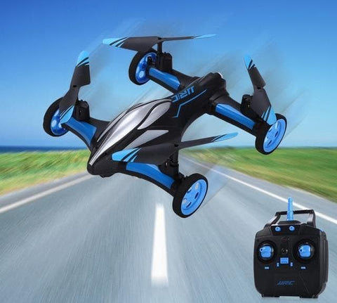 Image of blue rc quadcopter drone with Remote control