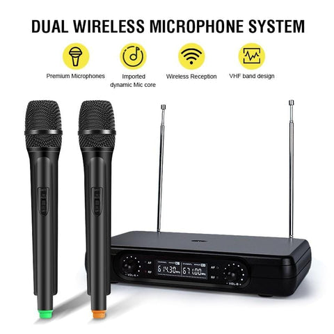 Karaoke Machine with Two Wireless Microphones