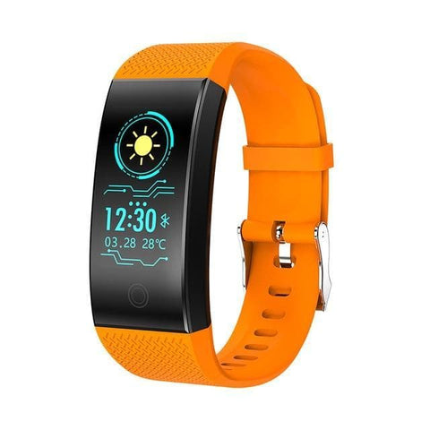 Image of Orange Waterproof Fitness Watch with Activity Tracker