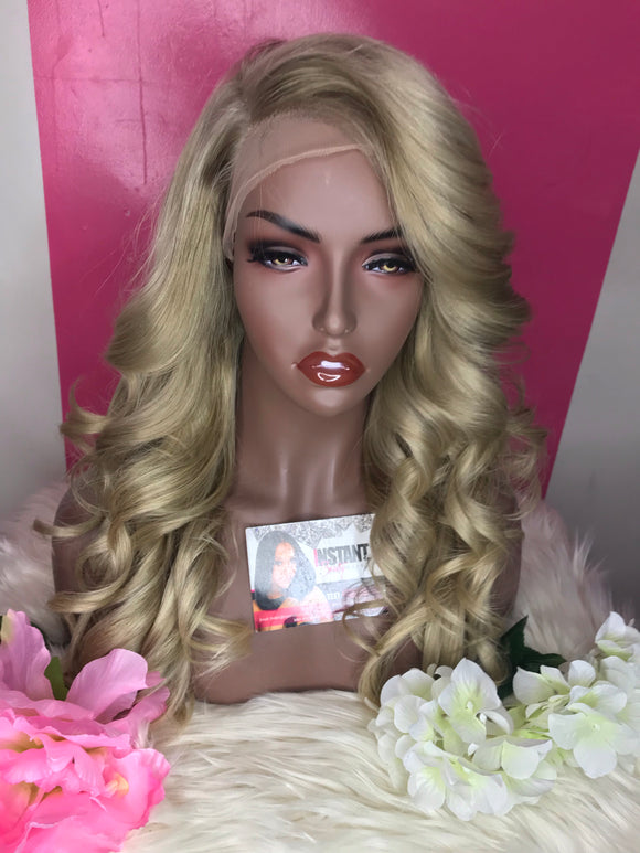 """Stacey"" Unit: 18"" Ash Blonde Lace Frontal Custom Wig - Instant Beauty Hair"