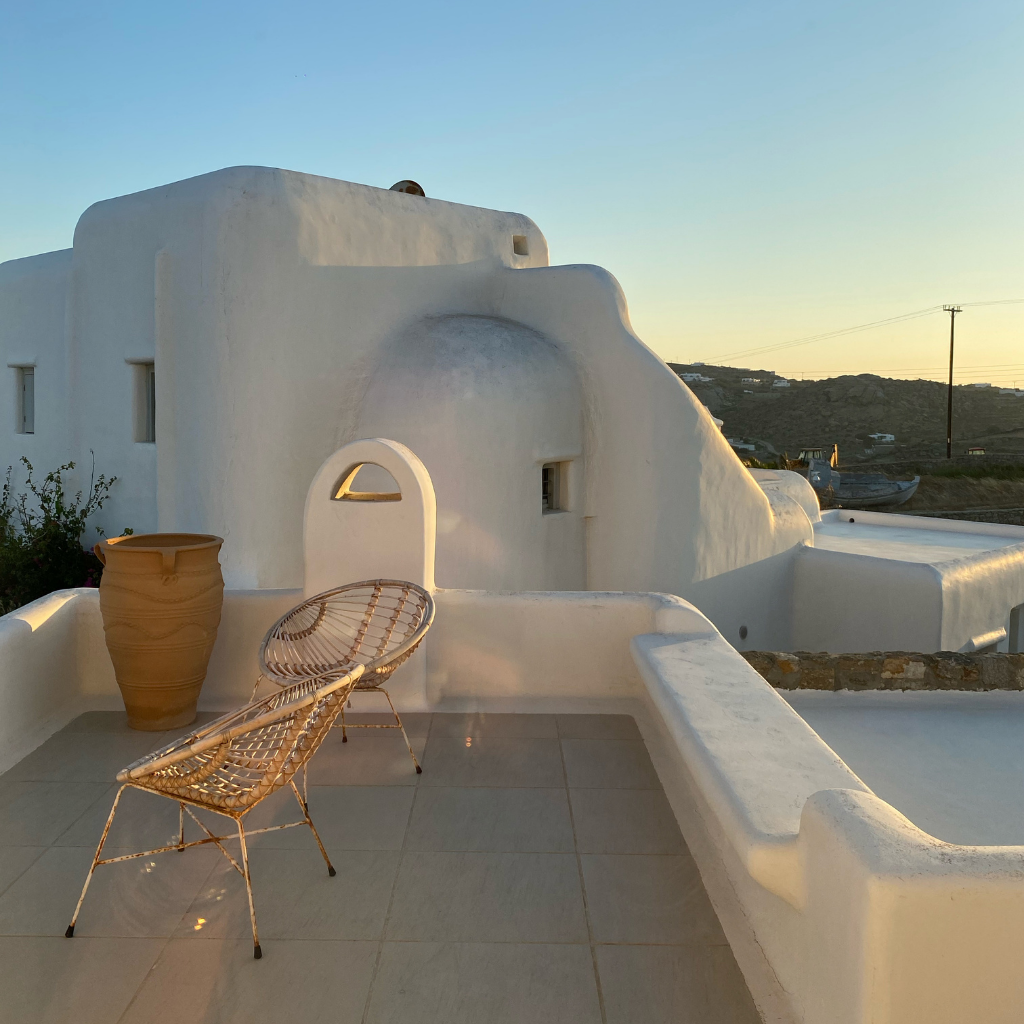 Rooftop apartment in Mykonos Greece at sunset