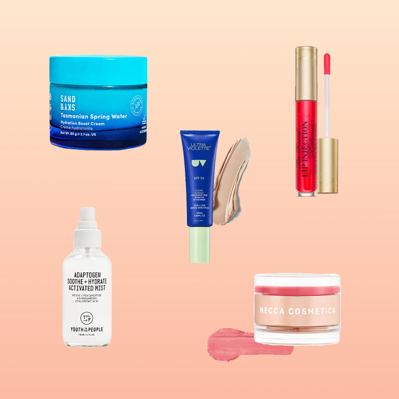 Rachel Tee Tylers top 5 beauty products she recommends using this summer - hydration creams, mineral sensitive skin SPF 30, too faced lip plumping lip gloss