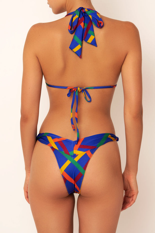 vintage print knot bikini bottom on body back view