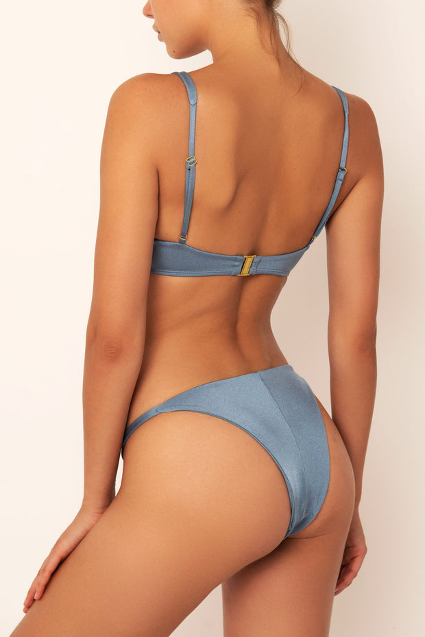 blue bikini top on body back view