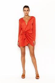 Sommer Swim model facing forward and wearing Madeira Wrap dress in Campari