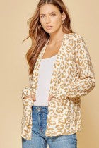 White & Tan Leopard Cardigan