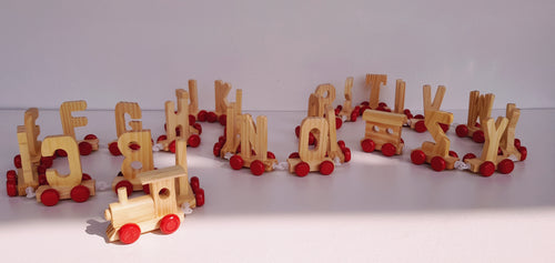 ALPHABET WOODEN TRAIN SET (28 PIECE) - Cleva Poppy