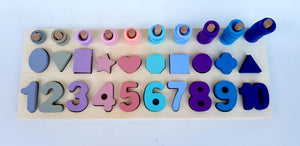 Wooden Numbers and Shapes Logarithm Plate - Cleva Poppy