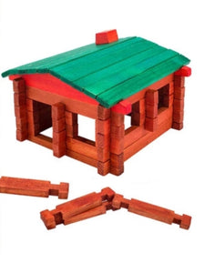 Wooden Construction Log Cabin - Cleva Poppy