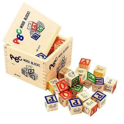 ABC Wooden Blocks 48 Piece Set - Cleva Poppy