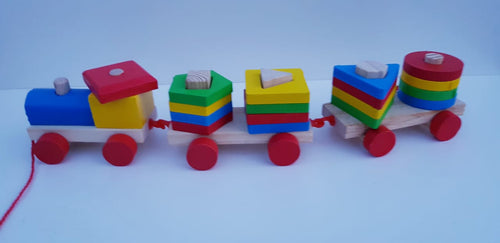 Wooden Train Shape Sorter - Cleva Poppy