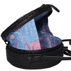 Bali bag - Black Flores - Myroundbag