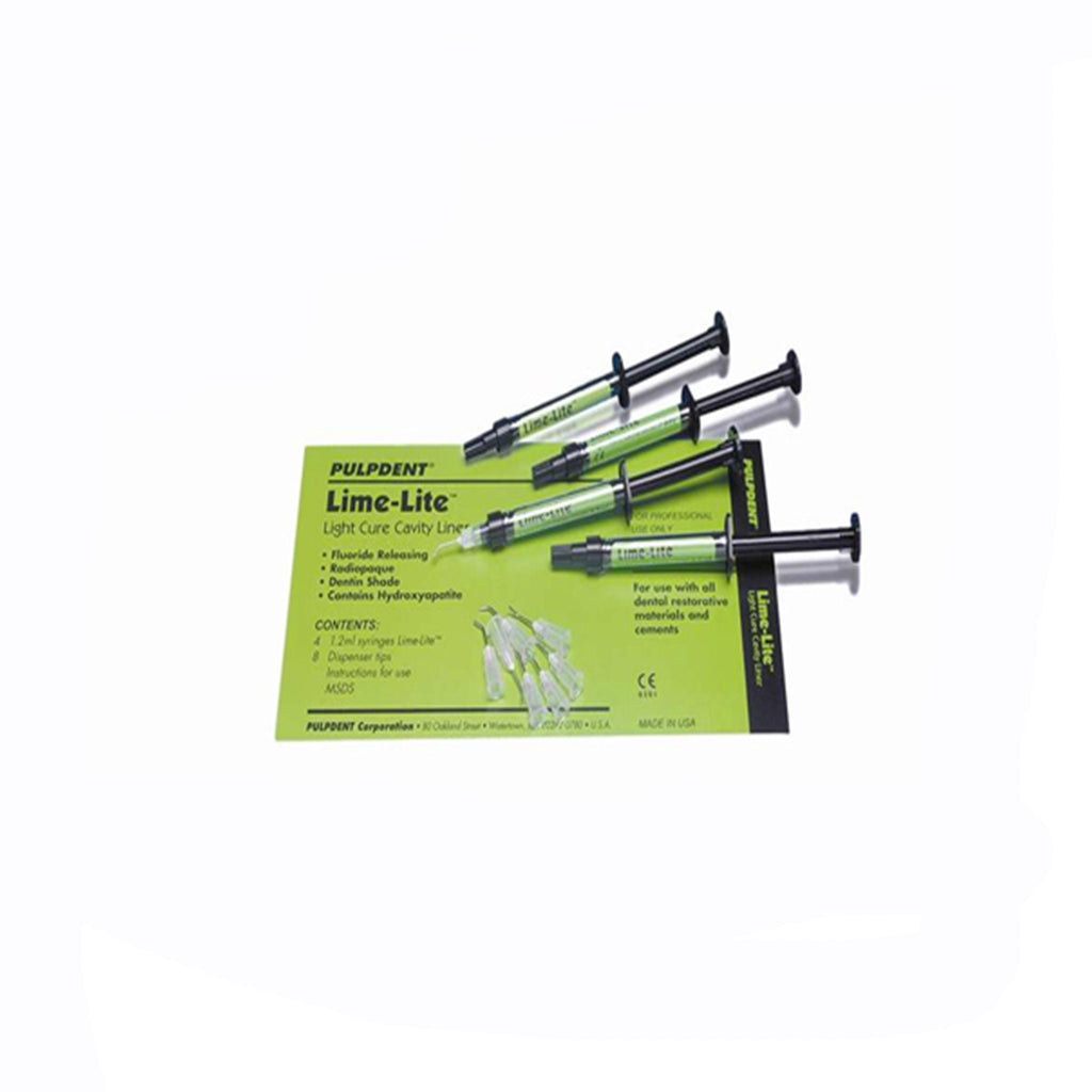 Pulpdent Lime-Lite Kit: 4-1.2ml Syringes; 8 tips. (500-LIMEKIT)