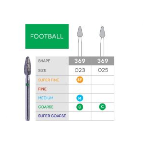 3D Dental SABUR Operatory Diamond Burs (FOOTBALL)