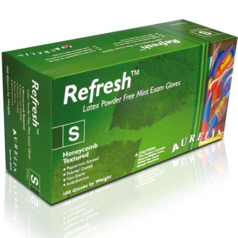 Aurelia Refresh Green Peppermint Latex Powder-Free Gloves