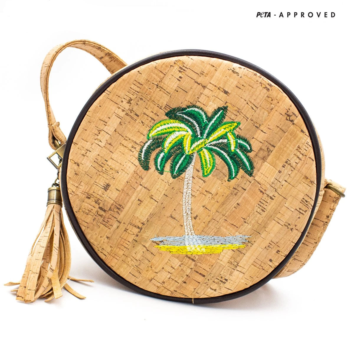 handbag, Circular Cork Bag with Sketched Embroidery Patch - movevegan, vegan fashion product trends, cork, animal free