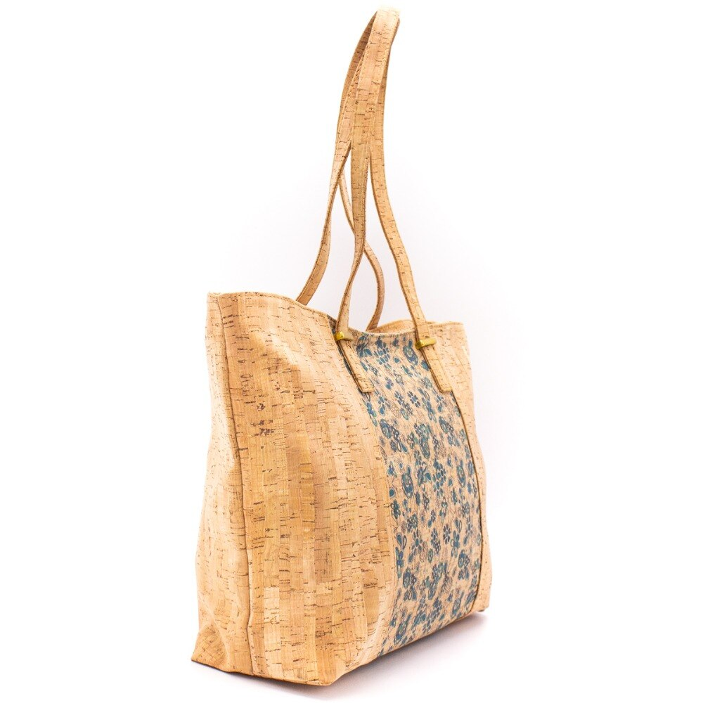 bag, Beautifully patterned cork bag in Trapeze Shape - movevegan, vegan fashion product trends, cork, animal free
