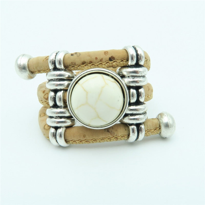 ring, White Ceramic Stone Ring - movevegan, vegan fashion product trends, cork, animal free