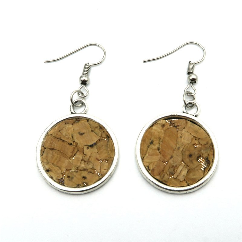 earring, Round cork Stamp earrings - movevegan, vegan fashion product trends, cork, animal free