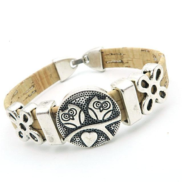 bracelet, Double Cute Owl Women Vintage Bracelet - movevegan, vegan fashion product trends, cork, animal free