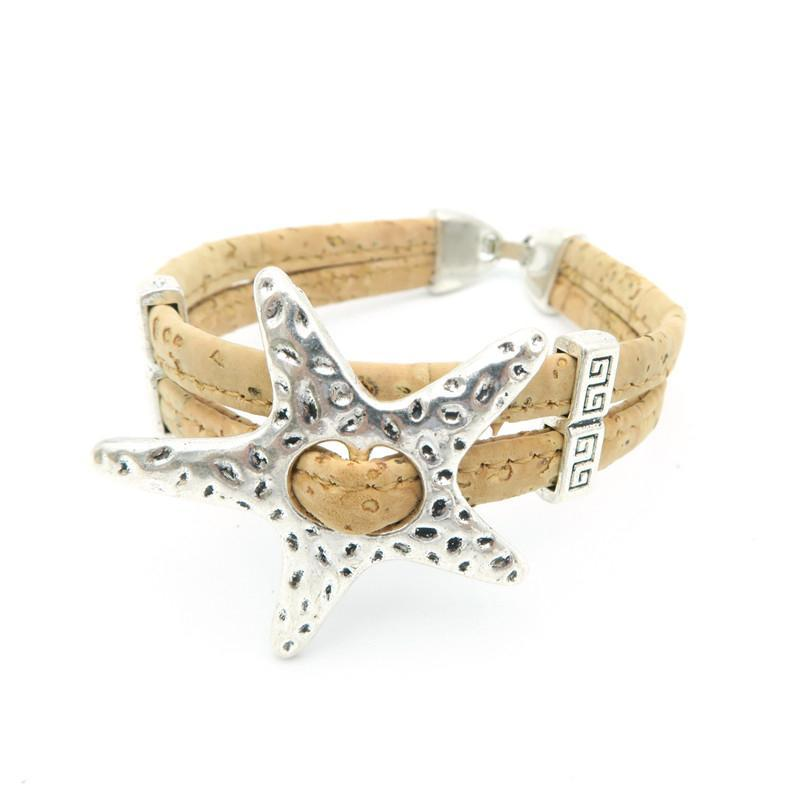 bracelet, Sea Star Cork Bracelet - movevegan, vegan fashion product trends, cork, animal free