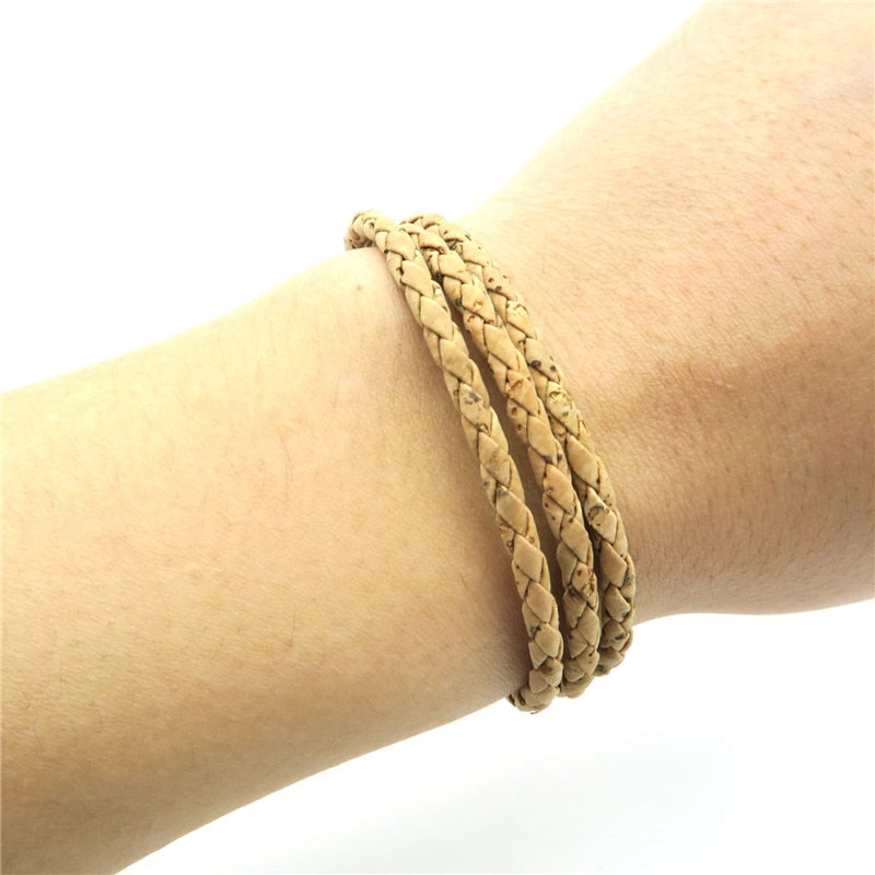 bracelet, Casual three-layer cork bracelet - movevegan, vegan fashion product trends, cork, animal free