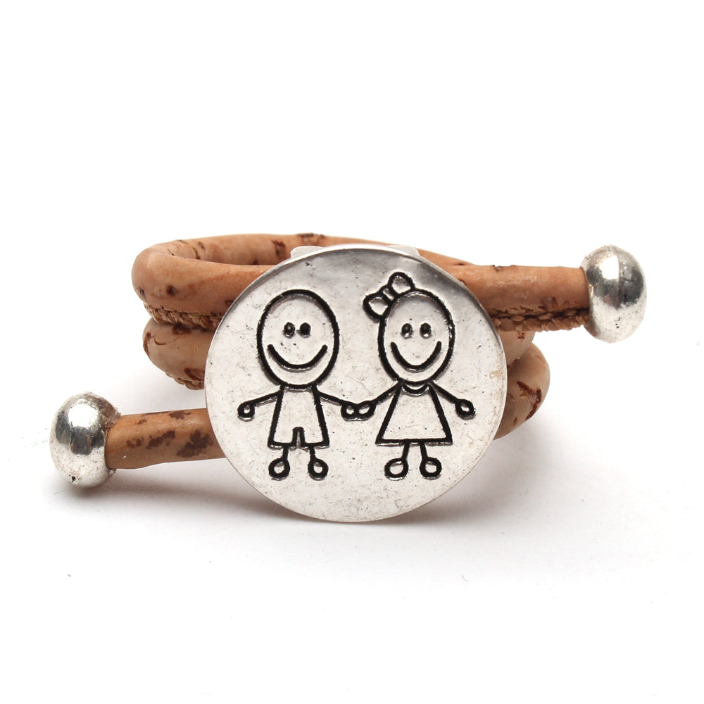 ring, family's boy and girl ring - movevegan, vegan fashion product trends, cork, animal free