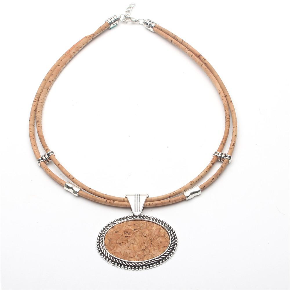 necklace, Oval cork Sticks women necklace - movevegan, vegan fashion product trends, cork, animal free